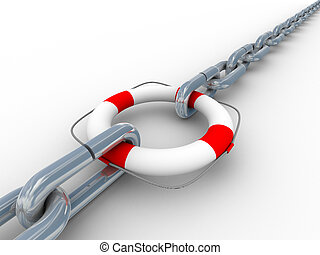 Chain fastened by lifebuoy. Isolated 3D image.