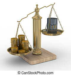Oil and money for scales. Isolated 3D image.