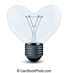 Electric bulb in the form of a heart. Isolated 3D image