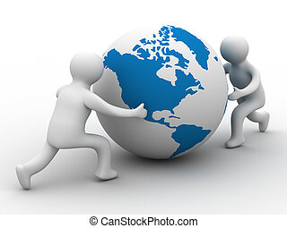 mans rolls the globe on a white background. Isolated 3D image.