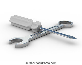 spanner and screwdriver on white background. Isolated 3D...