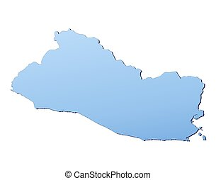 El Salvador map filled with light blue gradient. High...