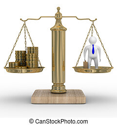 Cashes and businessman on weights Isolated 3D image