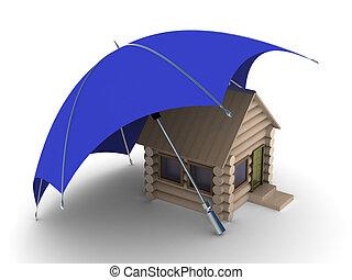 Insurance of habitation. Isolated 3D image on white...