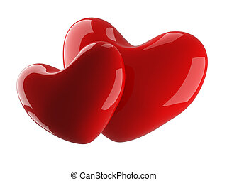 Two isolated heart on a white background 3D image