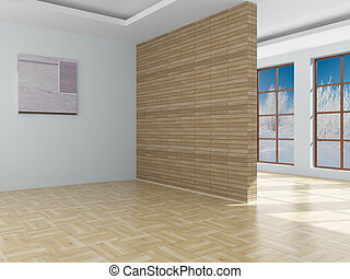 Empty room Landscape behind the open window 3D image