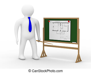 engineer at a board with the plan. Isolated 3D image
