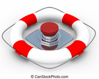 red button on a white background 3D image