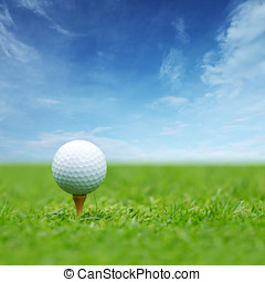 Golf ball on tee with blue sky behind