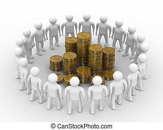 People standing around of money Isolated 3D image