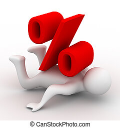 Discounts. Percent on the person. Isolated 3D image