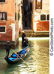 Venice - tourist attractions: Venice at the sunset. The...