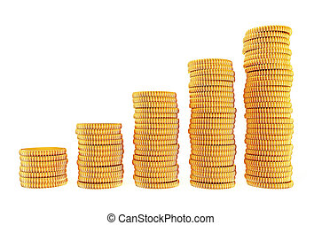 coins - 3d coins isolated on a white background