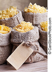 Pasta assortment in burlap bags