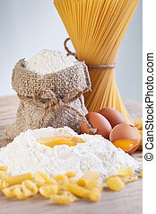 Ingredients for making pasta - flour and eggs