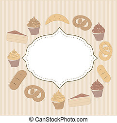 Card with cupcakes and other sweet food