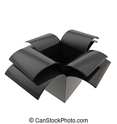 Glossy package parcel box isolated on white - Black empty...