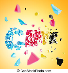 Word CMYK broken into pieces background