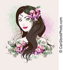 Girl portrait - Decorative background with woman face and...