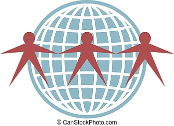 globe people - simple icon design of people connecting...