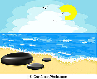 Illustration of the beach and the sky