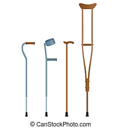 Crutches for the movement of people with broken legs The...