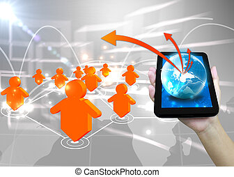 Businessman holding world .Technology social network concept