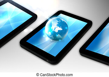 globe connections on tablet pc computer