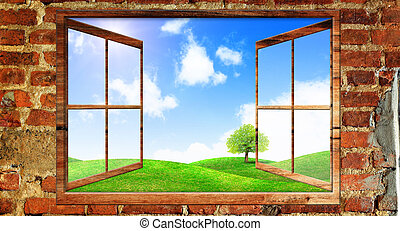 Beautiful view over a window of green field with blue sky