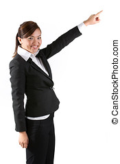 Asian business woman pointing. - Portrait of a happy young...