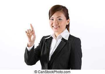 businesswoman pointing finger at a virtual screen