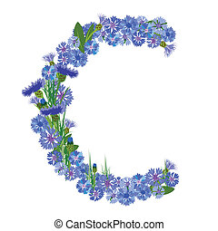 Letter C, collected from the flowers of cornflower