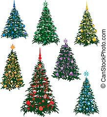 Rainbow tree - The image of the seven christmas fur-tree...