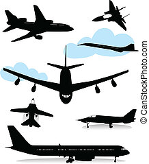 Silhouettes of various planes - Collection of silhouettes of...