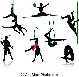Silhouettes of circus performers. Acrobats and jugglers.