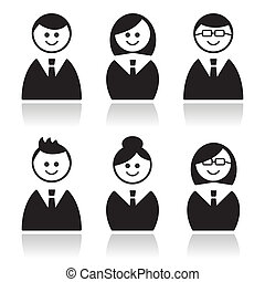 Business people icons set, avatars - Businessman,...