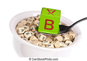 Vitamin B - Vitamin-rich alphabet soup featuring vitamin b,...