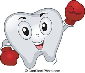 Tooth Boxer Mascot - Mascot Illustration of a Tooth Dressed...