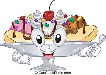 Banana Split Mascot - Mascot Illustration Featuring a...