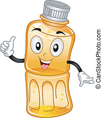 Bottled Juice Mascot - Mascot Illustration Featuring a...