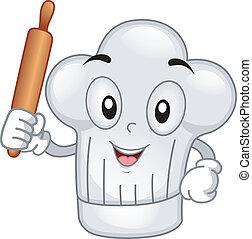Toque Mascot - Mascot Illustration Featuring a Toque Holding...