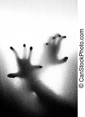 Zombie hands - Abstract crime background - silhouette of two...