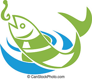 Fish Jumping For Bait Hook - Retro illustration of a fish...