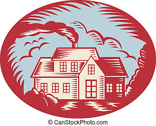 House Homestead Cottage Woodcut - Retro illustration of a...