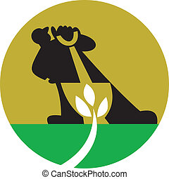 Gardener Landscaper With Shovel Digging Plant - Illustration...