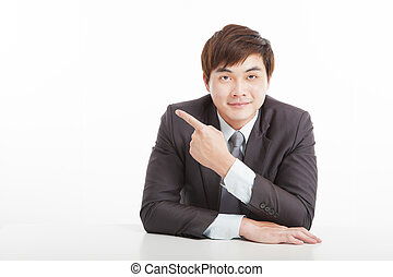 asian young businessman pointing