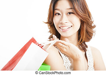 happy asian woman with shopping bag