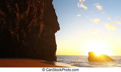 Sunset on the Beach in Hawaii - Beautiful Sunset on the...