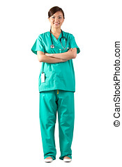 Full length Portrait of a Female Doctor - Female Asian...