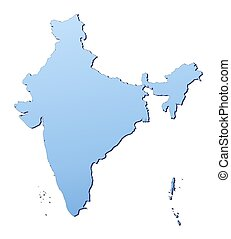 India map filled with light blue gradient. High resolution....